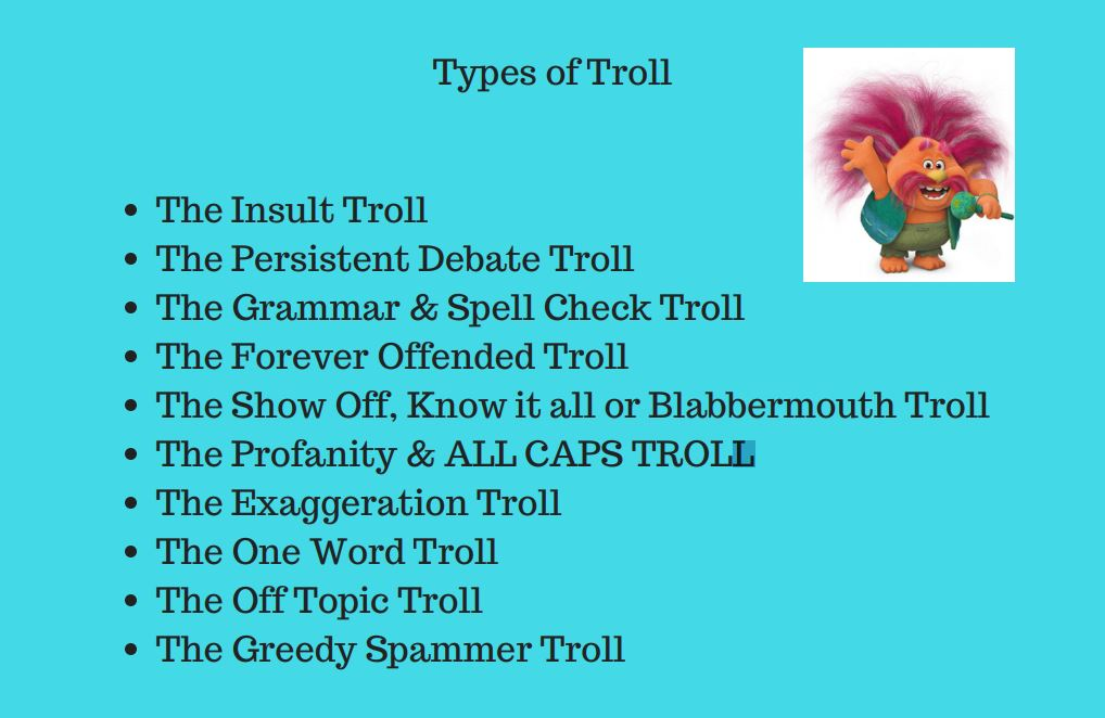 Sophie Gradon - types of troll