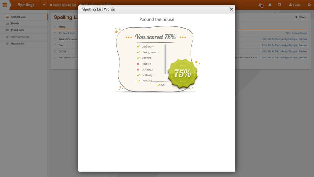 Spellings - Online spelling tests in School Jotter